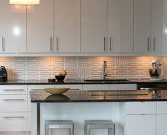 Kitchen Backsplash Contemporary modern silver gray long subway marble backsplash tile   new house