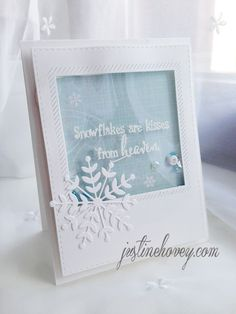 Justine's Cardmaking, Scrapbooking and Papercrafting: So Suzy Stamps Shaker Card/Embossing with Acetate Card: Create Christmas Cards, Homemade Christmas Cards, Xmas Cards, Homemade Cards, Holiday Cards, Christmas Tag, Acetate Cards, Stampin Up Weihnachten, Snowflake Cards