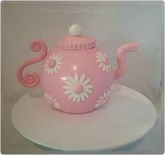 Fondant Teapot cake topper 70th Birthday Cake Mum, Tea Party Birthday, Teapot Cake, Cupcake Cakes, Cup Cakes, Tea Tins, Buttercream Flowers, Fondant Figures, Tea Art