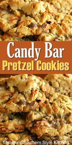 Candy Bar Pretzel Cookies If sweet and salty is your guilty pleasure, you'll love these cookies! Candy Bar Cookies, Pretzel Cookies, Cookie Brownie Bars, Yummy Cookies, Köstliche Desserts, Delicious Desserts, Dessert Recipes, Bar Cookie Recipes, Pretzel Recipes