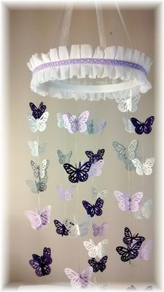 Lavender Purple Grey and White Butterfly Mobile, Baby Shower Gift, Nursery Decor, Nursery Mobile, Crib Mobile, Baby Mobile