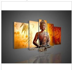 5 Panel Wall Art Religion Buddha Oil Painting On Canvas(no framed) in Art, Direct from the Artist, Paintings | eBay