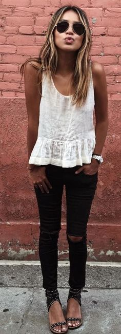 Spring Outfit Ideas to Keep Wearing Your Winter Jeans. Black Distressed Jeans + Slub Peplum Top + Favorite Sandals. afflink