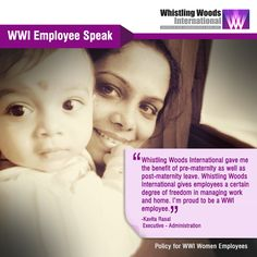 """WWI Employee Kavita Rasal on Felxible Timing Policy- """"Whistling Woods International allows such 'flexible timings' that I can manage all responsibilities of an employee, wife & mother too. Whistling Woods International gave me the benefit of pre-maternity as well as post-maternity leave. Whistling Woods International give employees a certain degree of freedom in managing work and home. I'm proud to be a WWI employee."""