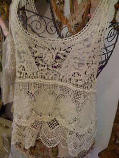 I LOVE this!! at hula gypsy, Lace Camisole with crochet design bu Ludi. $45.00, via Etsy.