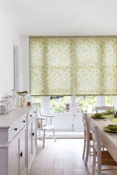 Give your dining room a summery look with one of our roller blinds. #rollerblinds #greenblinds #home #interiordesign #diningroomblinds Please visit us at www.barnesblinds.co.uk
