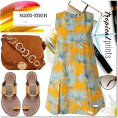 Tropical Summer by arethaman on Polyvore featuring MSGM, Tory Burch, Foley + Corinna, Roland Mouret, Maryam Keyhani, summerdress, tropicalprints, palmtreeprint, summer2016 and hottropics