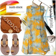 Tropical Summer by arethaman on Polyvore featuring MSGM, Tory Burch, Foley + Corinna, Roland Mouret, Maryam Keyhani, summerdress, tropicalprints, palmtreeprint, summer2016 and hottropics