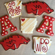 Arkansas Razorback Cookies 1 Dozen by AnnPotterBaking on Etsy