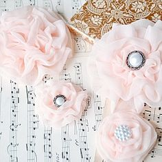 Tutorial for a ruffle chiffon flower.  Can use for your hair, purse, shoes....plus a trick on how to ruffle with no fray!