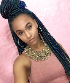 Obsessed With Her Colored Faux Locs! @miccheckk12 - http://community.blackhairinformation.com/hairstyle-gallery/locs-faux-locs/obsessed-colored-faux-locs-miccheckk12/