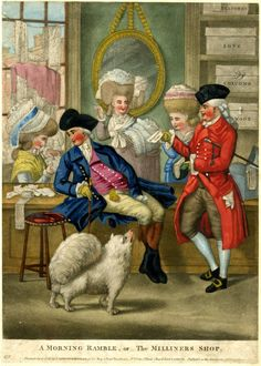 Although18th c milliners & mantua-makers catered to ladies, gentlemen were welcomed - in this print, rather warmly, too. Print copyright British Museum.