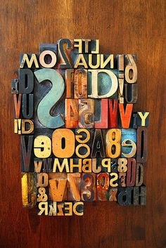 Fun letters. Arranged in a random way makes it interesting to look at. Also has a vintage feel that i really like