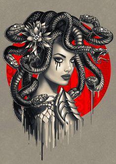 "Saatchi Art is pleased to offer the Art Print, ""Medusa,"" by Ben Krefta. Art p. Medusa Painting, Medusa Drawing, Medusa Art, Medusa Gorgon, Painting Tattoo, Medusa Tattoo Design, Tattoo Designs, Medusa Snake, Greek Mythology Art"
