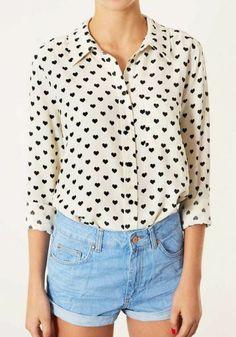 White Heart Print Buttons Turndown Collar Chiffon Blouse