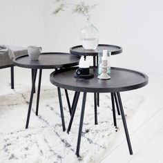 Cute black coffee table Juco from Danish interior label House Doctor. Beautiful wooden tray with raised edge and metal legs. Combine the table with the other sizes Juco tables for the perfect Scandinavian look! House Doctor, Black Coffee Tables, Black Side Table, Industrial Furniture, Vintage Furniture, Small Tables, Side Tables, Home Buying, Interior Inspiration