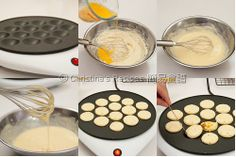 Dutch Pancakes (Poffertjes) from Christine's Recipes Dutch Recipes, Gourmet Recipes, Dessert Recipes, Cooking Recipes, Desserts, Ebelskiver Recipe, Poffertjes Recipe Easy, Pancakes And Waffles, Mini Dutch Pancakes