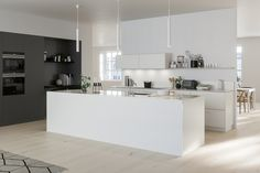 In this monochrome kitchen, the focus is on modern minimalism and perfectly styled displays. organised worktops, handleless cupboards and the open-plan Modern Kitchen Design, Interior Design Kitchen, Home Decor Kitchen, Kitchen Furniture, Kitchen Ideas, Interior Design Living Room, Living Room Decor, Living Spaces, Cool Kitchens