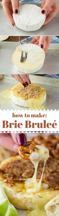 For a fancy looking and easy to make appetizer go for this Brie Brûlée! Only 2 ingredients to this ooey gooey cheesy appetizer! Easy To Make Appetizers, Finger Food Appetizers, Appetizers For Party, Finger Foods, Appetizer Recipes, Dessert Recipes, Desserts, Brunch, Cookies Et Biscuits