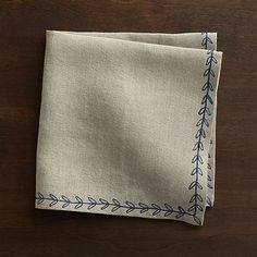 Marianna Sprig Linen Napkin  | Crate and Barrel