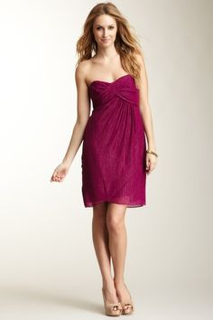 Streaked Lurex Strapless Dress