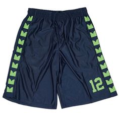 Seattle Seahawks 12TH Man Fan YOUTH Basketball Shorts Navy Lime Feathers #Zone12sports #SeattleSeahawks