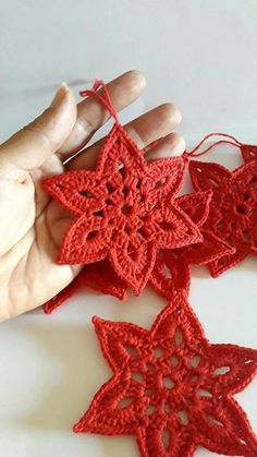 Items similar to christmas tree ornaments, christmas star, christmas decoration, crochet christmas decora Crochet Christmas Decorations, Crochet Christmas Ornaments, Christmas Crochet Patterns, Holiday Crochet, Christmas Star, Handmade Ornaments, Crochet Gifts, Ornaments Ideas, Etsy Christmas