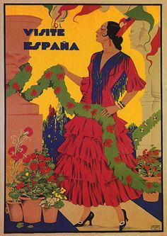 VISIT-SPAIN-VISITE-ESPANA-TRAVEL-SPANISH-FLAMENCO-DANCER-VINTAGE-POSTER-REPRO