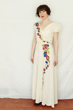 Vintage 30's 40's Crepe Hand Painted Dress by foundundertheeaves, $50.00