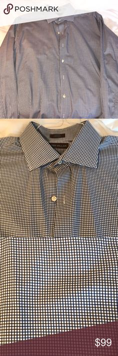 Peter millar dress shirt Men's large peter millar dress shirt. Like new. Tight check blue and grey. Very nice. Peter Millar Shirts Dress Shirts