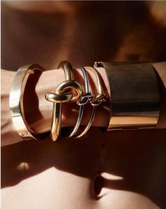 chunky gold Celine bracelets & cuffs #style #fashion #jewelry