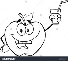 Black And White Apple Cartoon Character Holding A Glass With Drink