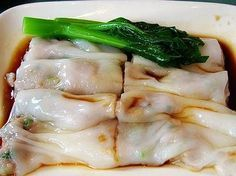 Steamed Rice Roll - yumcha - use Rice Noodle sheets from Ranch 99 - cut into wide strips, add Shrimp and steam - use brown sugar for Sweet Soy Sauce