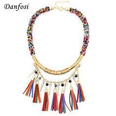 Vintage Boho Chokers Necklaces Beaded Chains Leather Tassles Rivet Pendant Women Fashion Accessories Statement Jewelry N3578 #Affiliate