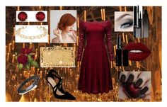 """""""Gryffindor Pride"""" by charlotte-pauline ❤ liked on Polyvore featuring Jennifer Fisher, Lime Crime, Kevin Jewelers, Charlotte Olympia, Witchery, Giorgio Armani, Serge Lutens and harrypotter"""