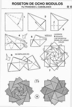 Rosette star Origami Wreath, Origami Quilt, Origami And Kirigami, Origami Ball, Origami Love, Origami Stars, Origami Flowers, Oragami, Origami Instructions