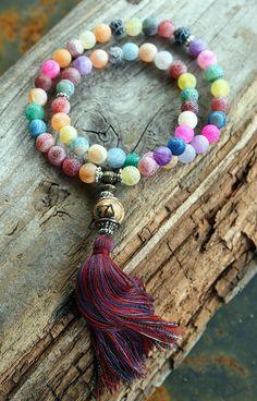 Frosted agate wrist mala bracelet - look4treasures on Etsy, $34.95