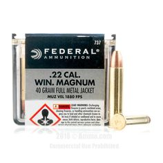 Federal 22 WMR Ammo - 50 Rounds of 40 Grain FMJ Ammunition #22WMR #22WMRAmmo #Federal #FederalAmmo #Federal22WMR #FMJ
