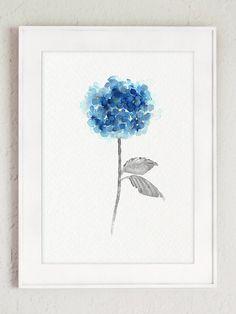 Flores de Hortensia azul juego de acuarela 2 Resumen cartel