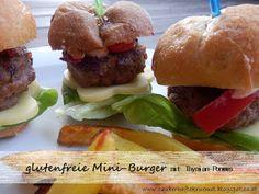 glutenfreie Mini-Burger mit Thymian-Pommes  http://zauberhaftekruemel.blogspot.co.at/2016/01/rezepte-glutenfreie-mini-burger-mit.html