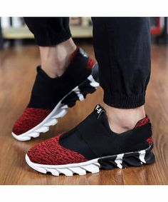 Men's #red casual slip on shoe #sneakers, pattern print, leisure, sport occasions, breathable, Round toe design.