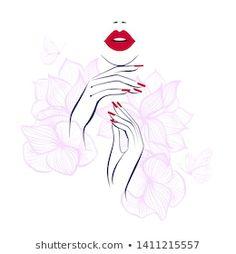 Beautiful Girl Face Red Lips Lush stockvector (rechtenvrij) 1121613893 Nail Salon Design, Nail Salon Decor, Studio Logo, Nail Studio, Beauty Logo, Beauty Art, Globe Logo, Nail Logo, Red Manicure