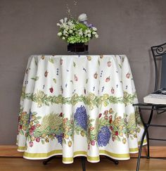 Round Tablecloth  Roses and Lavender  by SoleildeProvence, $84.00