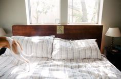 How to make a DIY headboard from a repurposed hollow core door that doesn't look like an upcycling project // shoestring magazine for Habitat for Humanity Austin ReStore