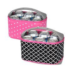 Occasionally Made Neoprene Six Pack Cooler- (Clover/Pink Dot)