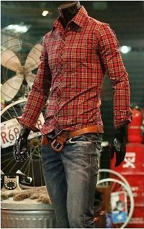 Men's Casual Red Plaid Checkered Shirt