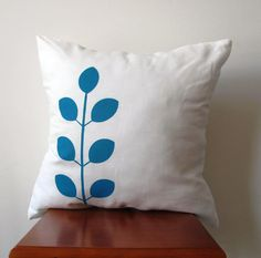 Blue Fond Leaf Hand Printed Modern Pillow Cover by AnyarwotDesigns, $19.99
