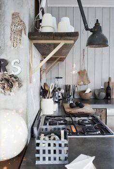 Kitchen: rugged, wood shelf, easy to add bright colors