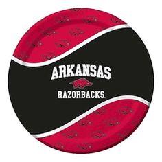 Arkansas UA Razorbacks 9-inch Luncheon or Dinner Paper Plate - 8 count $4.00 #TeamTailgateShop