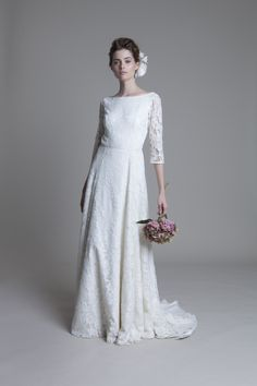 Lace wedding dress with long sleeves, backless, silk tulle, french lace | Vintage inspired bridal fashion www.halfpennylondon.com